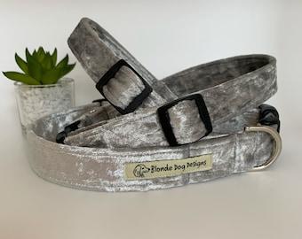 Dog Collar, Silver Crushed Velvet, Luxury Dog Collar