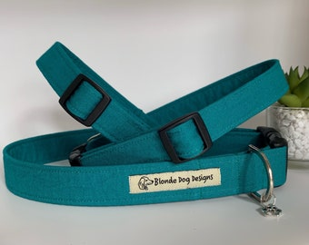 Waxed Cotton Dog Collar, Teal Green