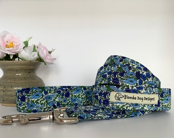 Liberty Dog Lead, Petal & Bud Blue, Floral Dog Leash