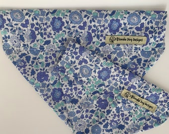 Liberty Dog Bandana, D'Anjo Blue, Floral Neckerchief