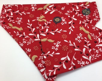 Christmas Dog Bandana, Festive Berries, Festive Neckerchief
