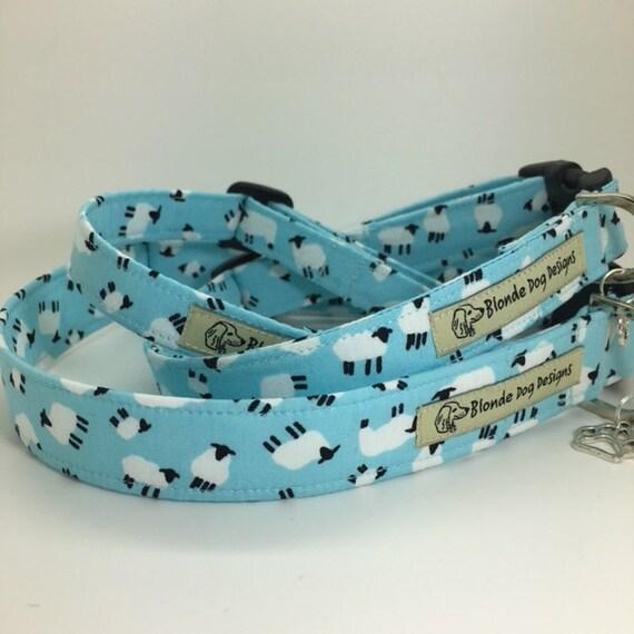 Sheep Dog Collar, or, Sheep Dog Lead, Sheepish Pasture Blue, Blue Dog Collar, Blue Dog Lead, Sheep Collar, Sheep Lead.