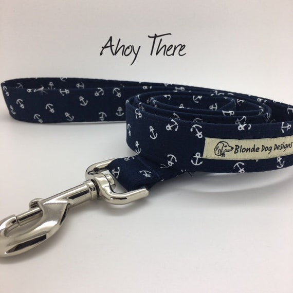 Anchor Dog Lead, Ahoy There, Nautical Lead, Anchors Lead, Luxury Dog Lead