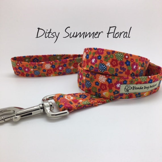 Ditsy Summer Floral Dog Lead, Summer Dog Lead, Floral Dog Lead, Orange Floral Lead, Pretty Dog Lead