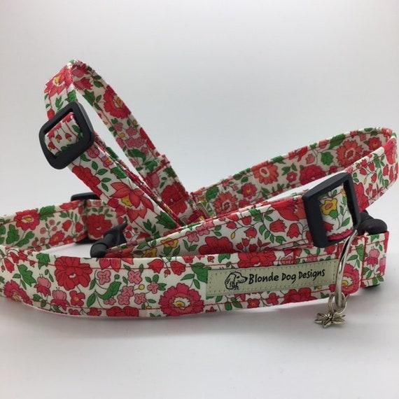 Liberty Dog Collar, D'Anjo Red, Pretty Dog Collar, Floral Dog Collar, Red Dog Collar, Luxury Dog Collar, Liberty Collar.