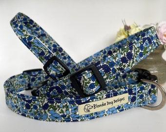 Liberty Dog Collar, Petal & Bud Blue, Floral Dog Collar