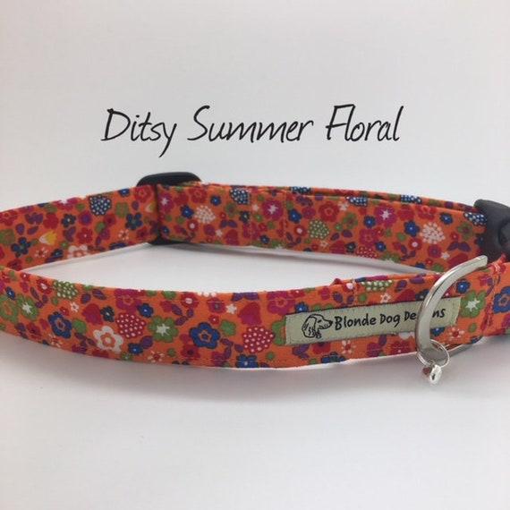 Ditsy Summer Floral Collar, Summer Dog Collar, Floral Dog Collar, Orange Floral Collar