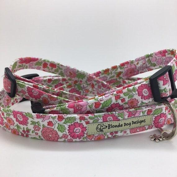 Liberty Dog Collar, D'Anjo Pink, Floral Dog Collar, Pretty Dog Collar, Liberty London Collar