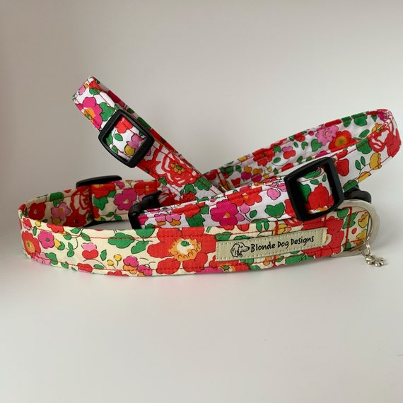 Liberty Dog Collar, Betsy Red, Floral Dog Collar