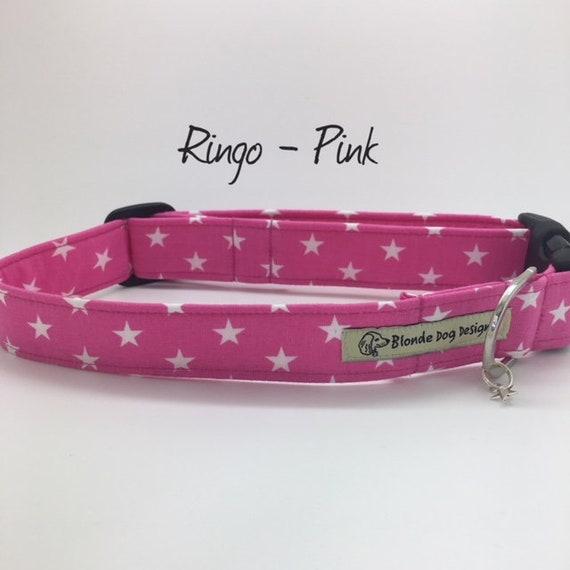 Star Dog Collar, Ringo, Pink Dog Collar, Star Print Collar, Pink Star Collar, Luxury Dog Collar, Stars Dog Collar