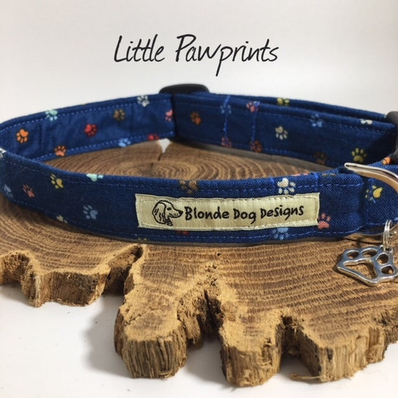 Dog Collar, or, Dog Lead, Little Paw Prints, Blue Dog Collar, Blue Dog Lead, Luxury Dog Lead, Luxury Dog Collar