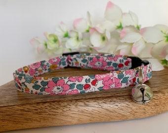 Liberty Cat Collar, Betsy Ann Pink, Floral Collar
