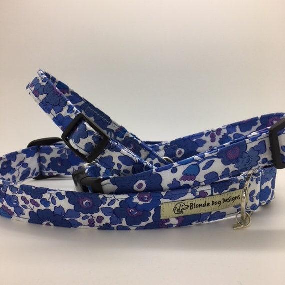 Liberty Dog Collar, Betsy Blue, Floral Dog Collar, Pretty Dog Collar, Blue Floral Collar, Liberty Collar, Liberty Print Collar