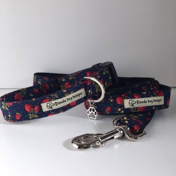 Dog Collar & Lead Set, Strawberry Fields, Sale Collar and Lead, Pretty Dog Collar, Collar and Lead UK