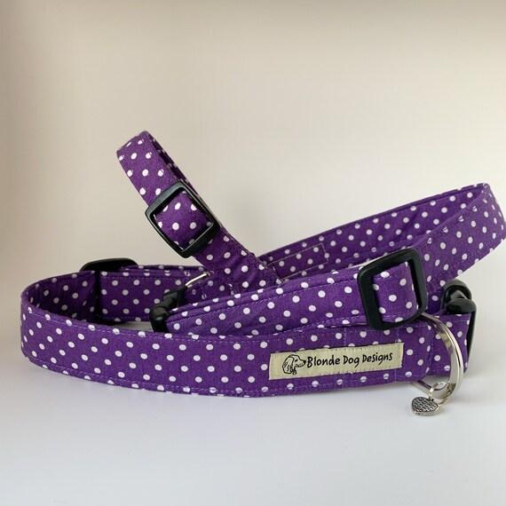 Purple Dog Collar, or, Purple Dog Lead, Dotty Purple, Polka Dot Collar