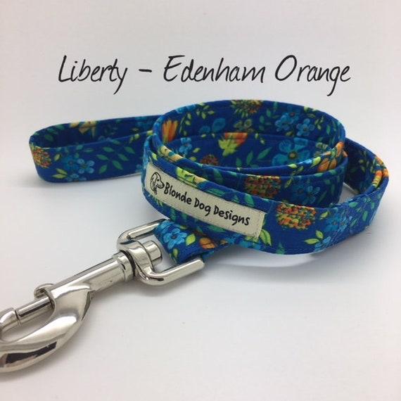 Liberty Dog Lead, Edenham Orange, Floral Dog Lead, Liberty Print Lead, Liberty London Lead