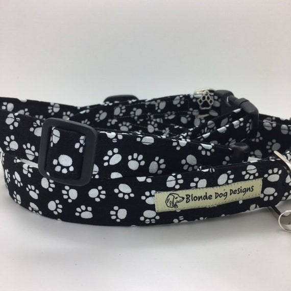Cute Dog Collar, Paws Up, Black and White Collar, Boy Dog Collar, Paw Print Collar, Luxury Dog Collar,Paws Dog Collar