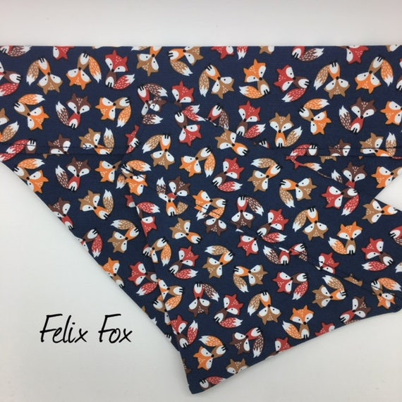 Fox Dog Bandana, Felix Fox, Fox Neckerchief, Boy Dog Bandana, Girl Dog Bandana, Fox Fabric, Fox Print Bandana, Luxury Dog Bandana.