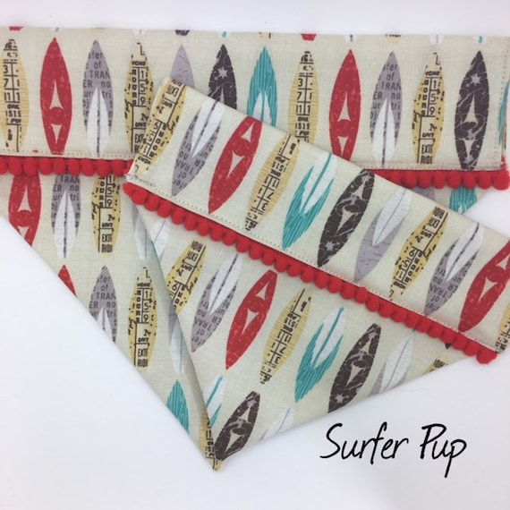 Dog Bandana, Surfer Pup, Surf Boards, Pom Pom Bandana, Holiday Bandana,
