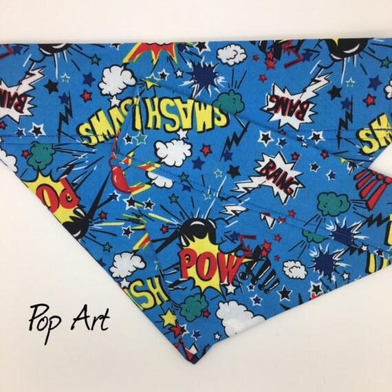 Superhero Dog Bandana, Pop Art, Superhero Neckerchief