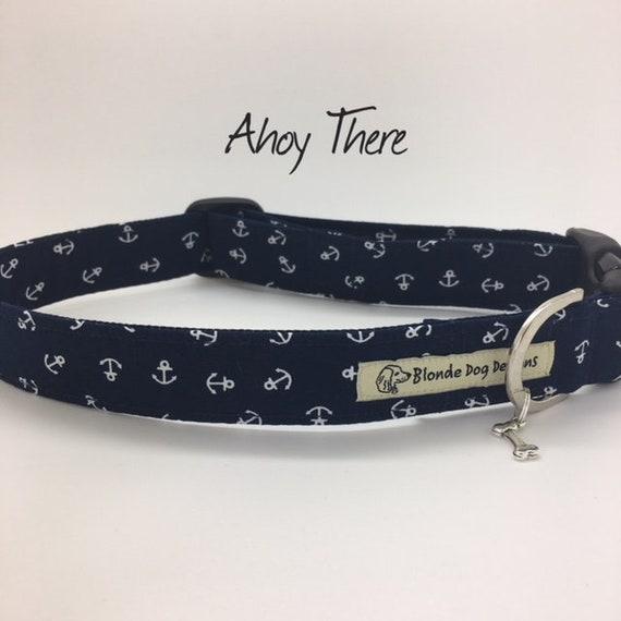 Anchor Dog Collar, or, Anchor Dog Lead, Ahoy There, Nautical Lead, Nautical Collar, Luxury Dog Collar, Luxury Dog Lead.