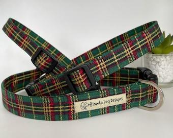 Tartan Dog Collar, Elegant Tartan, Green Collar