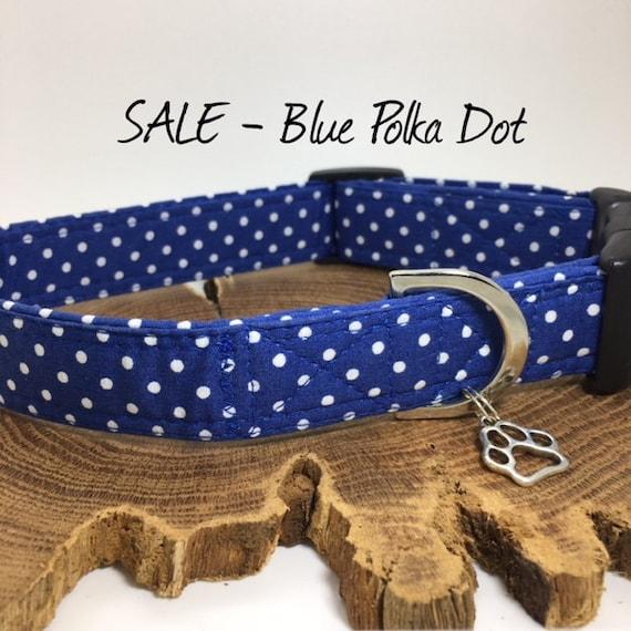 Sale Dog Collar, Blue Polka Dot Collar, Cute Dog Collar