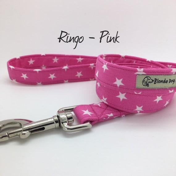 Stars Dog Lead, Ringo, Pink, Stars Lead, Star Print Lead, Pink Stars Lead, Pink Stars Dog Lead