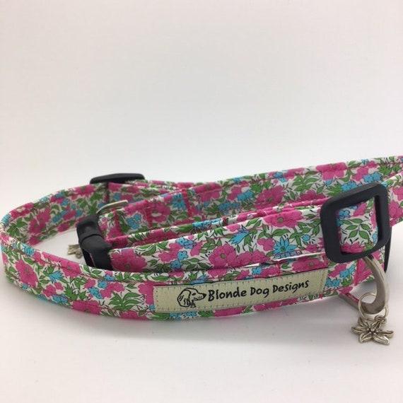 Liberty Dog Collar, or, Liberty Dog Lead, Floral Dog Collar, Rosalind, Pink Dog Collar, Liberty London Collar