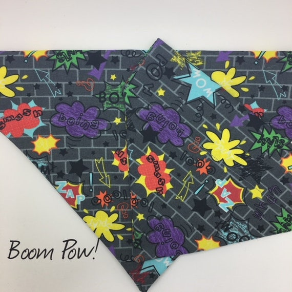 Comic Dog Bandana, Boom Pow! Pop Art Bandana, Comic Neckerchief, Pop Art Neckerchief