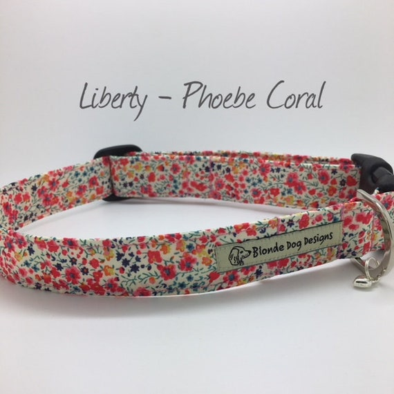Liberty Dog Collar, Liberty London, Phoebe Coral, Floral Dog Collar, Liberty Print Collar, Summer Dog Collar