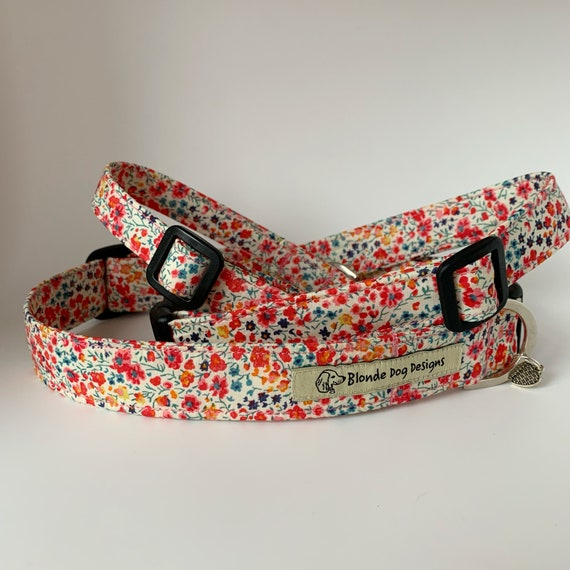 Liberty Dog Collar, Phoebe Coral, Floral Dog Collar