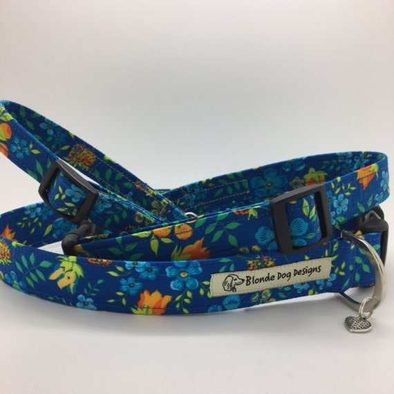 Liberty Dog Collar, Edenham Orange, Floral Dog Collar