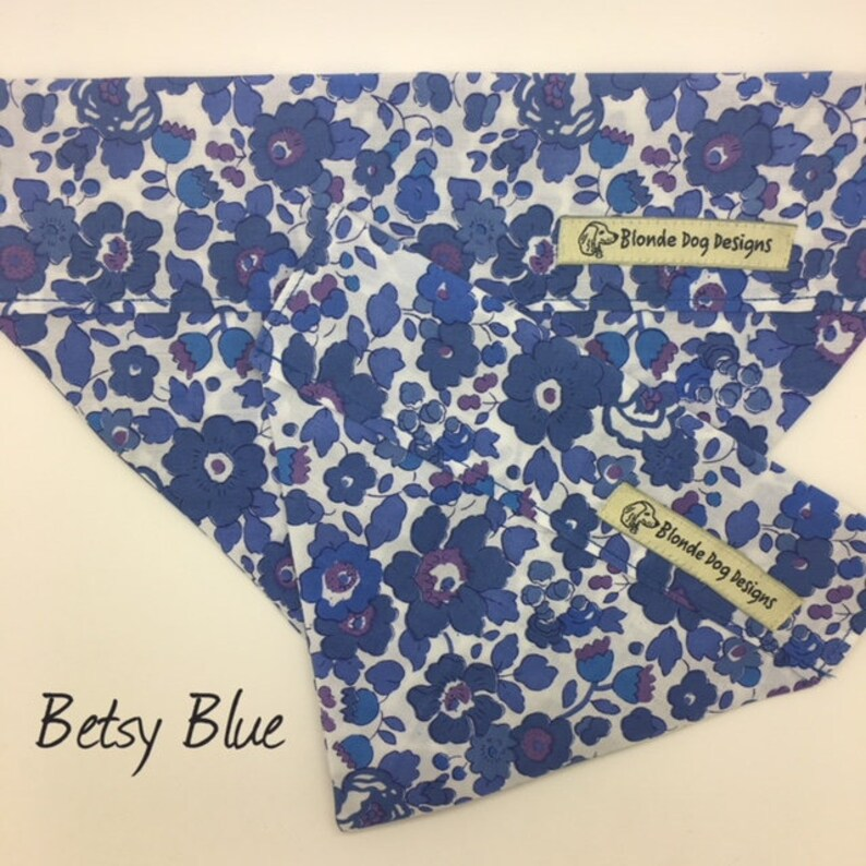 Liberty Dog Bandana Betsy Blue Floral Neckerchief image 0