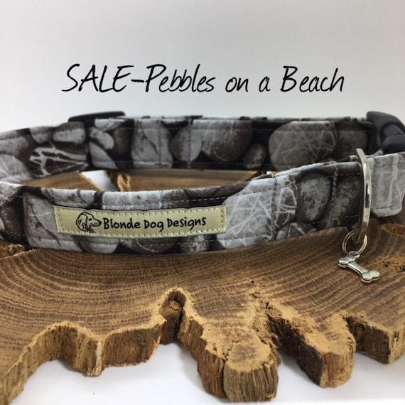 Sale Dog Collar, Dog Collar, Pebbles On A Beach, Grey Dog Collar, Luxury Dog Collar