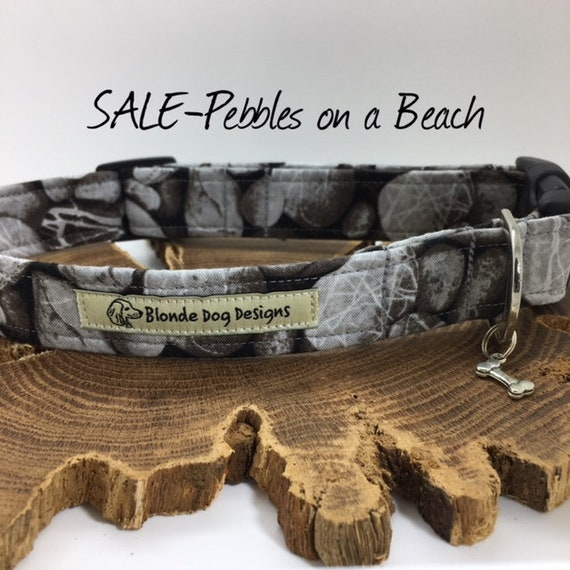 Sale Dog Collar, Dog Collar, Pebbles On A Beach, Grey Dog Collar