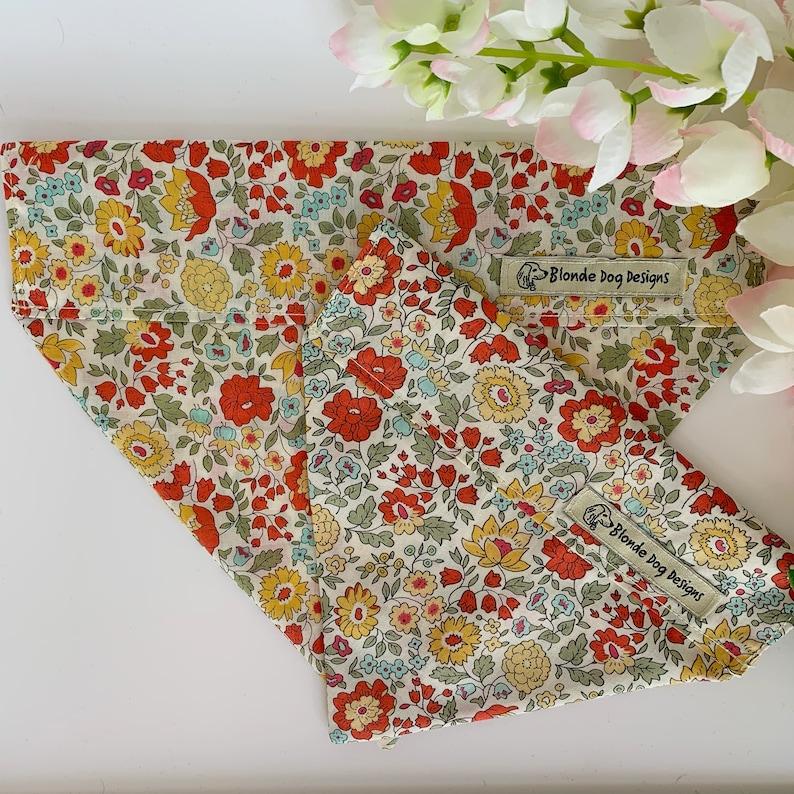 Liberty Dog Bandana D'Anjo Marigold Floral Neckerchief image 0