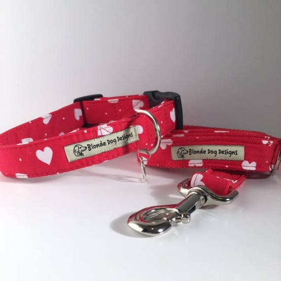 Loveheart Collar and Lead, Sale Collar and Lead, Lush Love Heart,  Dog Collar and Lead Set