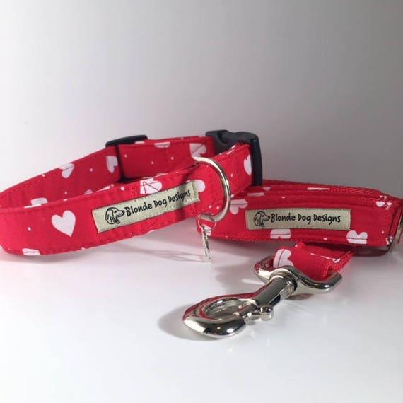 Loveheart Collar and Lead, Lush Love Heart,  Dog Collar and Lead Set