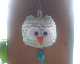 Lovely Owl Crochet Amigurumi Keychain Handmade
