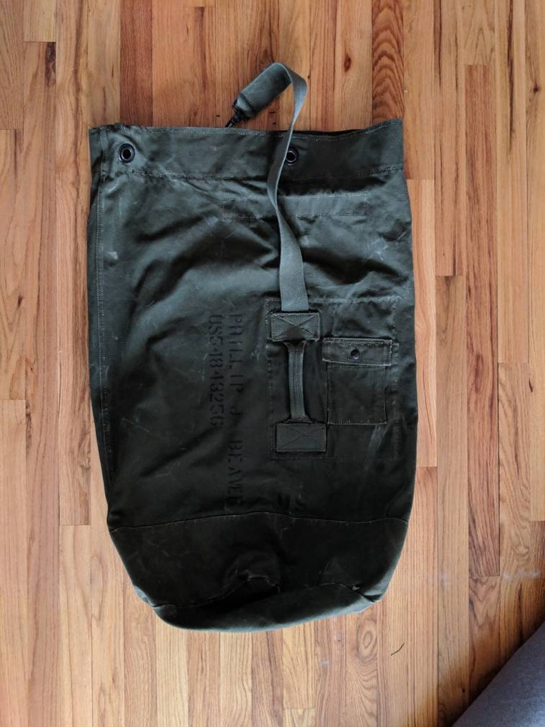 0f75aa302bf9 Military Duffle Bag - Vintage Military Ruck Sack - Olive Green Bag