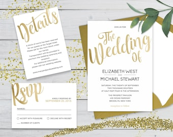 wedding invitation template gold etsy