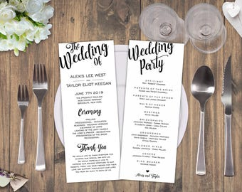 rustic wedding program template wedding ceremony template etsy