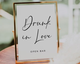 Drunk in Love sign, Drunk in love bar sign, Wedding bar sign, PDF template instant download  #SCR021VSD