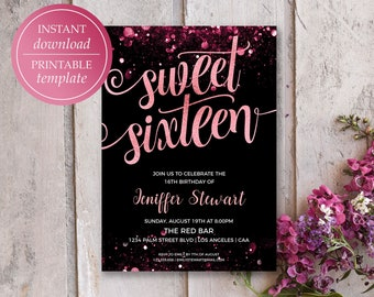 Sweet 16 Invitation 16th Birthday Invitations Rose Gold Printable Template Sixteen Party Glitter