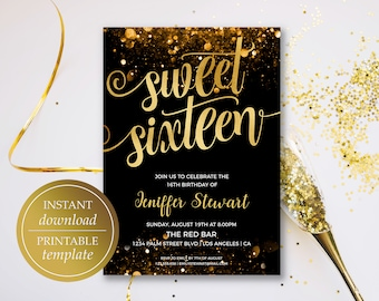 Sweet Sixteen Invitation Birthday Template Gold 16 16th Printable