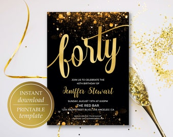 40th Birthday Invitation - Printable Forty Birthday Invitation Template | Gold Birthday invitation | Gold Foil Printable | Instant Download