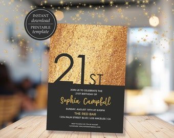 21st Birthday Invitation, Printable Birthday Invitation, Gold Invitation, Twenty One Birthday, Invitation Template, Digital Invitation