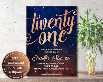 21st Birthday Invitation - Twenty First Birthday Invitation Template | Starry Night | Instant Download | Birthday Party Invitations