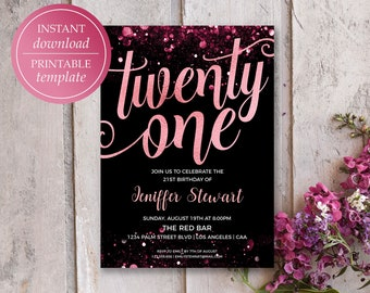 21st Birthday Invitation Rose Gold Printable Invitations